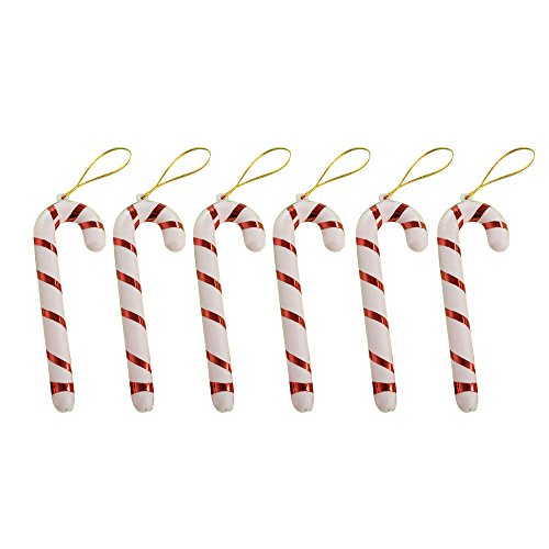 SHANHAI 2016 Xmas Hanging Candy Cane Christmas Party Decoration Plastic Mini Crutch Christmas Tree Ornament for Festival, Celebration, Wedding& Party, Lightweight, Red, 2.95