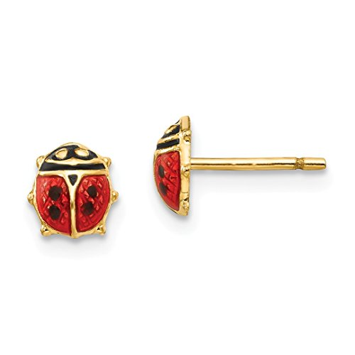 ICE CARATS 14kt Yellow Gold Enamel Ladybug Post Stud Earrings Animal Insect Fine Jewelry Ideal Gifts For Women Gift Set From Heart (14kt Ladybug Jewelry Gold Earrings)