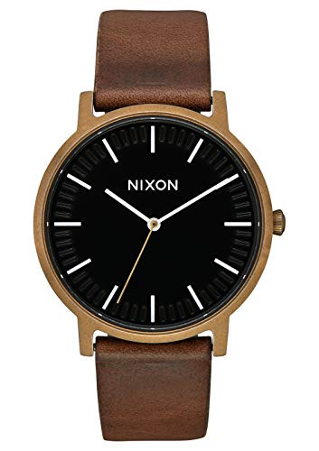 NIXON Porter Leather A1058 - Brass/Black/Brown - 50m Water Resistant Men's Analog Classic Watch (40mm Watch Face, 20-18mm Leather Band)