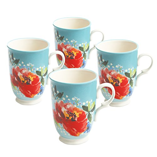 Pioneer Woman Melody Mugs 18 oz Set of 4 Coffee Tea Drink Cups