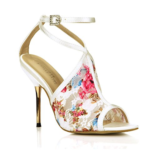 9b9495769307 chic Women Floral Dress Heeled Sandal Pumps Ankle Strap Peep Heels Flower  Print Wedding Stiletto Shoes