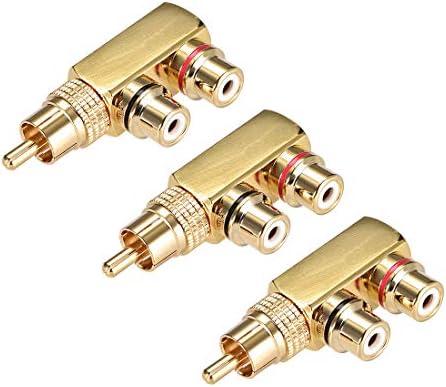 uxcell RCAオス-2 RCAメスコネクタ 金メッキ 真鍮 ステレオオーディオビデオスプリッターアダプターカプラー 3個