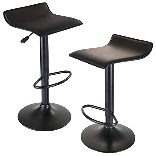 Stool Express Adjustable Swivel Height (Winsome Wood Set of 2 Obsidian Adjustable Backless Swivel Air Lift Stool, PVC Seat, Black Metal Post and Base)