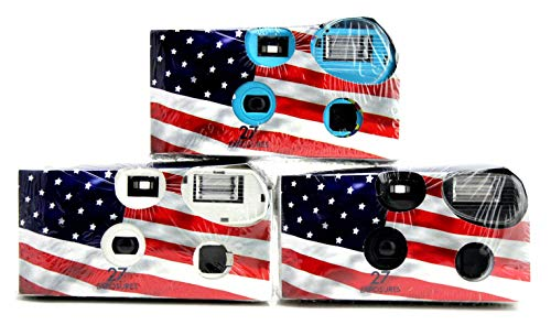 Disposable Cameras 35mm Film 27Exp + Flash Single Use USA American Flag (3-Pack)