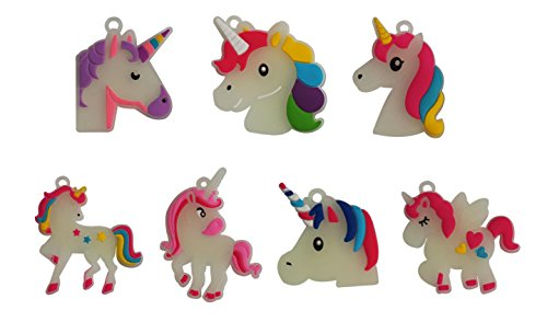 Seventopia 14 CT Night Glow Unicorn Charms for Crafts Keychain Jewelry Making Unicorn Party Favors