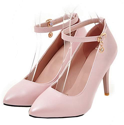 Ballet Fibbia Scarpe Donna Punta GMMDB007032 Tacco Rosa Alto Flats Luccichio AgooLar A q8wAEnw5
