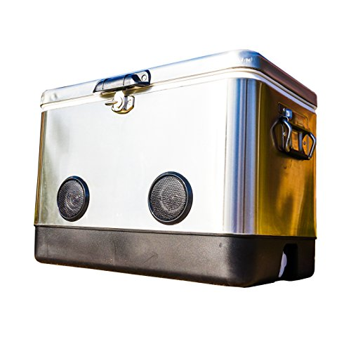 BREKX 54 Quart Double-Walled Stainless Steel Party Cooler with High-Powered Tailgating Bluetooth Speakers As Seen On TV - Works with iPhone, Android, Laptops - Excursion Tailgate Cooler