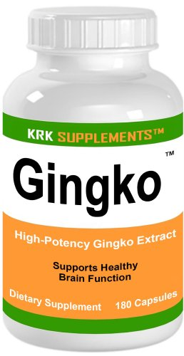 Ginkgo 180 Capsules Ginko Biloba Gingko santé SUPPLEMENTS cerveau KRK 60mg