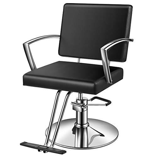 Baasha Styling Chair Salon For Hair Stylist, Beauty Equipment Chair Black With Hydraulic Pump,...