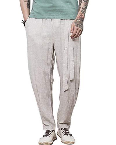 Abbigliamento Beige Lavoro Tasche Allentati Estivo Harem Con Uomo Elastici In Pantaloni Lino Larghi Da Solidi Vita HYnwZAq
