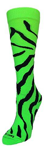 Green Crazy (TCK Zebra Stripe Socks (Neon Green/Black, Medium))