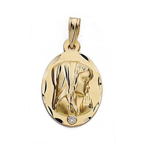 Médaille pendentif Nina Vierge de l'or 22mm 18k. zircone cubique ovale [9061GR] - personnalisable - ENREGISTREMENT inclus dans le prix