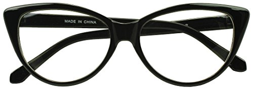 [Sunglass Stop - Womens Black Clear Lens High Pointed Cat Eyes Glasses (Black, Clear (Demo Lenses))] (Sexy Hello Kitty Costumes)