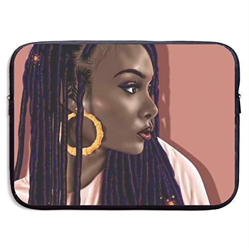 Classic Black Water Repellent Neoprene Laptop Sleeve Bag Cover Case Compatible 13 15 Inch, Computer Netbook Notebook Skin - African American Black Woman Girl Art