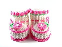 Crochet Booties Baby Girl Shoes in Eco Box, Size: 0-6 M …