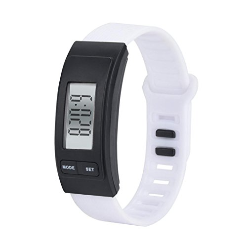 Lavany Fitness Tracker Watch, Clearence Pedometer Watch Digital LCD Pedometer Simple Step Counter Walking 3D Pedometer Calorie Counter Watch Bracelet for Kids Adult (White)