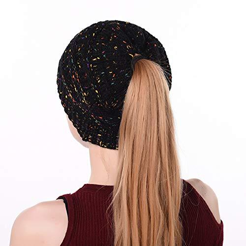 Szsmart Ponytail Beanie Hat Soft Stretch Cable Knit Messy High Bun Caps Winter Fashion Woolen Warm Cap Women (Black)