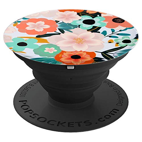 Pop Socket Floral Print Teal Orange Pink. Flower Design - PopSockets Grip and Stand for Phones and Tablets
