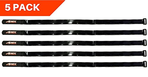(Apex RC Products 5 Pack 16mm x 500mm HD Rubberized Battery Straps Non-Slip 3023)