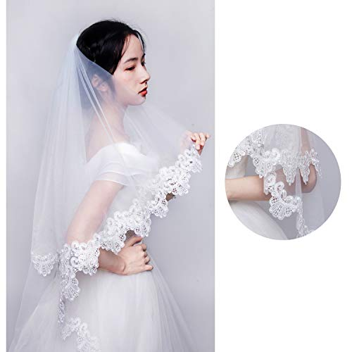 TOIHSUAN Women's 2 Tier Fingertip Length Veil Lace Bridal Veil for Wedding+Comb…