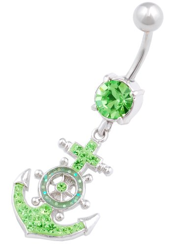 Green Peridot Belly Button Ring - 9
