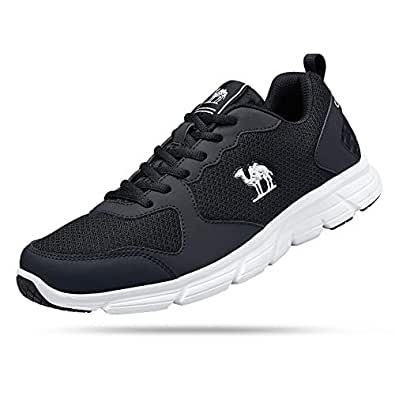 CAMEL CROWN Men Breathable Running Shoes Light Weight Mesh Men Sneaker for Sport Black 8 Size