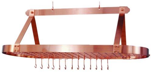 Satin Steel Hanging Pot Rack (Old Dutch Oval Hanging Pot Rack with Grid & 24 Hooks, Satin Copper, 48 x 19 x 15.5)