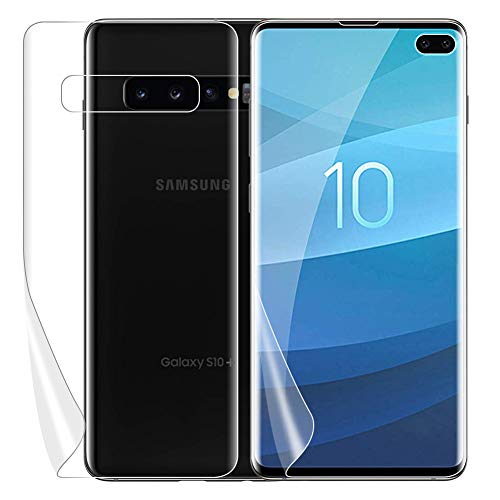 AMOVO Screen Protector for Galaxy S10 Plus/S10+ (6.4'') [2Front+1Back] [Fingerprint ID Friendly] Samsung Galaxy S10 Plus Screen Protector TPU [Not Glass] S10+ Case Friendly Soft Film ()