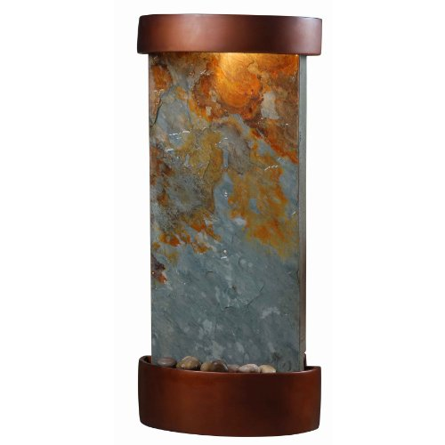 Kenroy Home #53238SL Midstream Indoor Table/Wall Fountain in Natural Slate with Copper Finish Accents (Fountain Slate Copper)