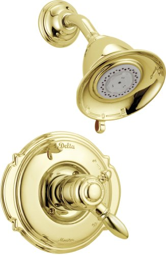 Delta Faucet Victorian 17 Series Dual-Function Shower Trim Kit with 2-Spray Touch-Clean Shower Head, Polished Brass T17255-PB (Valve Not -