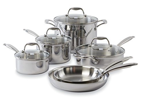 Kenmore 20002 Tri-Ply 10-Pc Stainless Steel Cookware Set (And Kenmore Pots Pans)