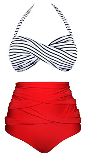 Angerella Retro 50s Stripe Swimsuits High Waisted Bathing Suits(BKI033-R1-L), Red(Stripe), US 6-8=Tag Size L