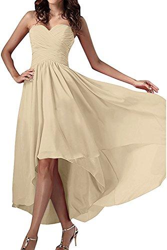 Abendkleider Ballkleid Chiffon Herzform Partykleid Einfach Champagner Festkleid Ivydressing Damen vtUSqp