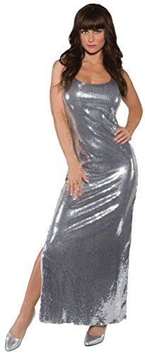 [Underwraps Womens Disco Party Sequin Dress Long Silver Fancy Theme Party Costume, L (12-14)] (Disco Theme Costumes)