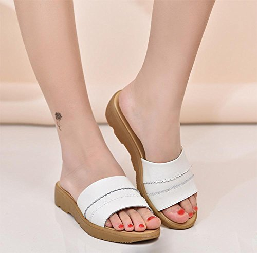planas verano de mujeres zapatillas casa las de Sra de moda zapatillas La antideslizantes White 7qSvtz