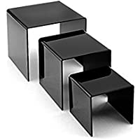 Adorox 1 Set of 3'', 4'', 5″ Black Acrylic Risers Display for Amiibo Funko POP Figures Jewelry Display Store Fixture Table Decorations