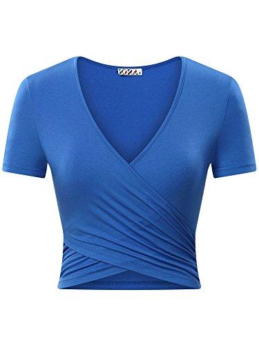 KIRA Womens Basic Short Sleeve Deep V Neck Unique