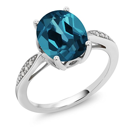 - Gem Stone King London Blue Topaz and White Diamond 14K White Gold Women's Ring (2.84 Ct Oval Available in size 5, 6, 7, 8, 9)