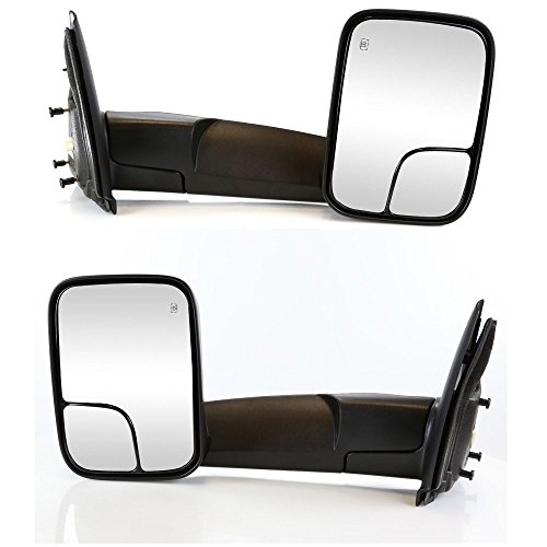 Nova For 2002-2008 Dodge Ram 1500 2003-2009 Dodge Ram 2500 3500 Pickup Truck Power Heated Manual Folding Towing Tow Flip-Up Mirrors Mirror Pair Set