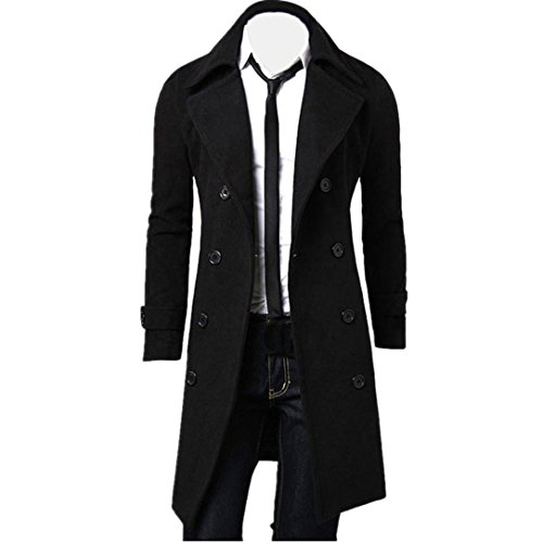 935d87b920ae HLHN Winter Men Coat ,Slim Fit Trench Double Breasted Long Parka Jacket:  Amazon.co.uk: Clothing