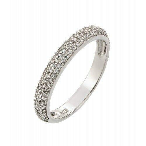 Womens 925 Sterling Silver Rhodium Plated Round Clear CZ Ring 7