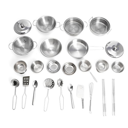 ShapeW 25pcs Stainless Steel Kitchen Cooking Utensils Mini Kitchen Tools Play House