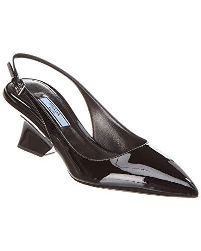Patent Prada Pumps Leather (Prada Pointy-Toe Patent Slingback Pump, 39.5, Black)