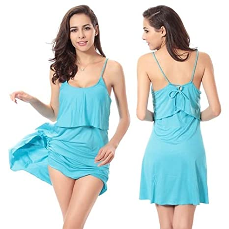ef95ae84d6 Image Unavailable. Image not available for. Color: BeesClover Feminine  Flounce Top Ties Back Beach wear Dress ...