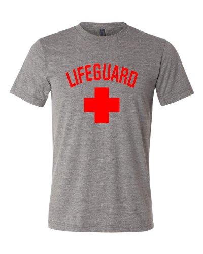 Large Grey Adult Lifeguard Triblend Short Sleeve T-Shirt