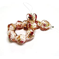 Linpeng Flower Design Lampwork Heart Glass Bead Strand