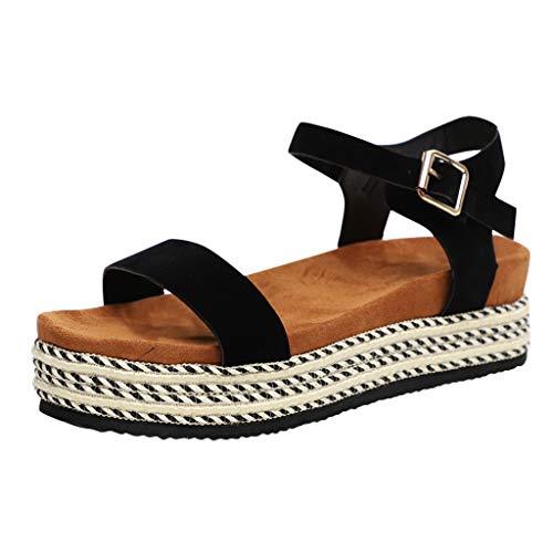 BEAUTYVAN Women's Platform Sandals Espadrille Wedge Ankle Strap Studded Peep Toe Sandals Black Black Stretch Calf Footwear