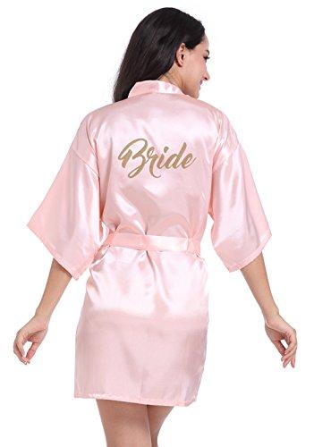 (FEOYA Womens 3/4 Sleeve Satin Wedding Kimono Robes Sleepwear Nightwear Size XL - Pink)