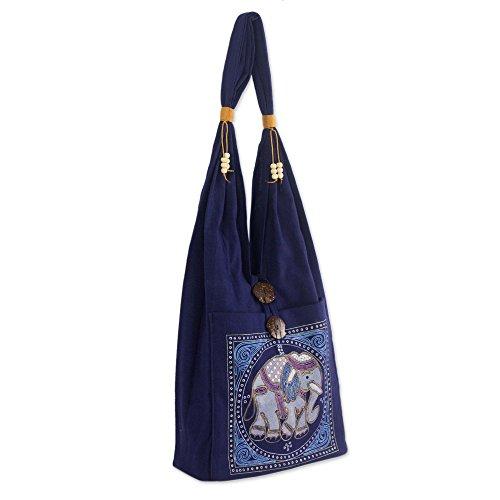NOVICA Dark Blue Handmade Embroidered Shoulder Bag, Lucky ()