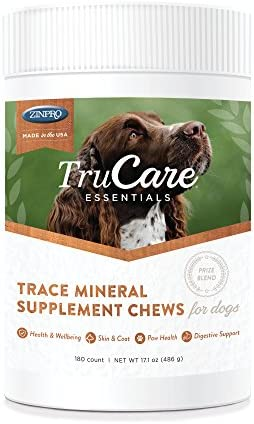 TruCare Essentials Trace Mineral Supplement Chews for Dogs, 180 Count Jar Zinc, Biotin, Vitamin A